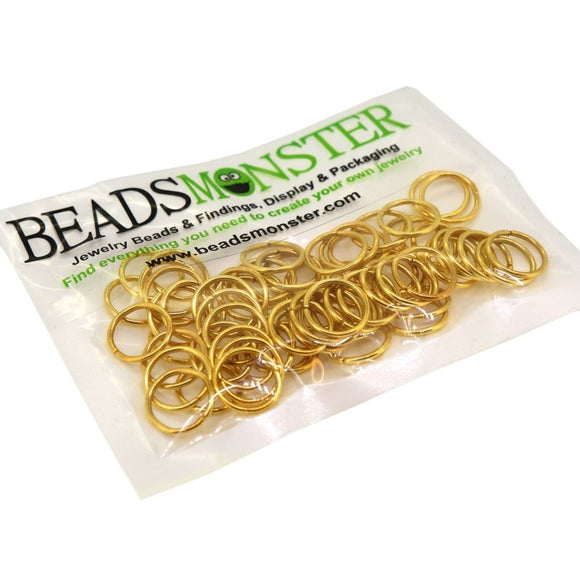 BeadsMonster Jewelry Findings Jump rings for Jewelry design and Making , Gold Color, 12mm, 20g