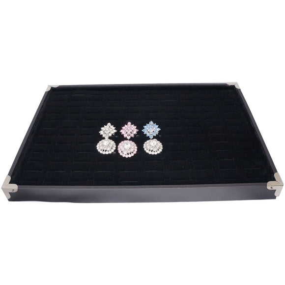 Black Jewelry Ring Display Case with Silver Decorative Corner, 35x24cm, For Ring / Cuff