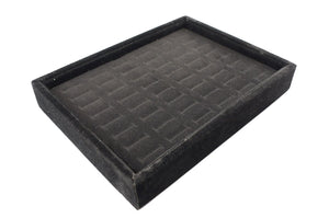 48 Slot Black Velvet Pad and Black Velvet Jewelry Display Case Tray, 20x15x3cm, for Rings and Cuffs