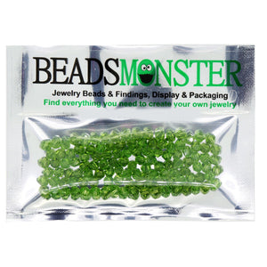 Pack of 100 Glass Beads, Bicone, 4x4mm, 1mm Hole,  Olivine Color