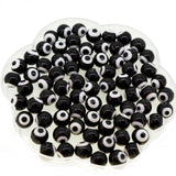Handmade Italianate Lampwork Beads Strands, Evil Eye Style, Round, Black, 10mm diameter