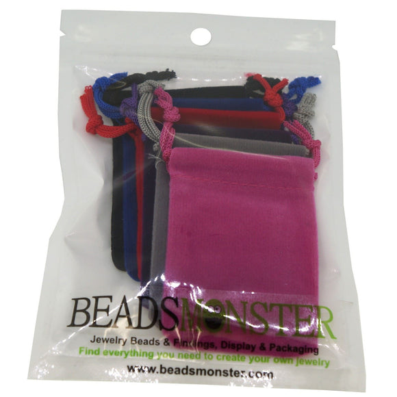Pack of 6 Color Soft Velvet Pouches with Drawstrings for Gift Packaging Bags, 5x7cm, approx 2