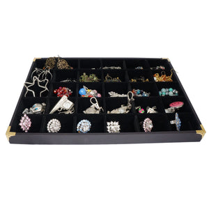 Black Jewelry 30 Compartment Display Case with Golden Decorative Corner, 35x24cm, for Presentation