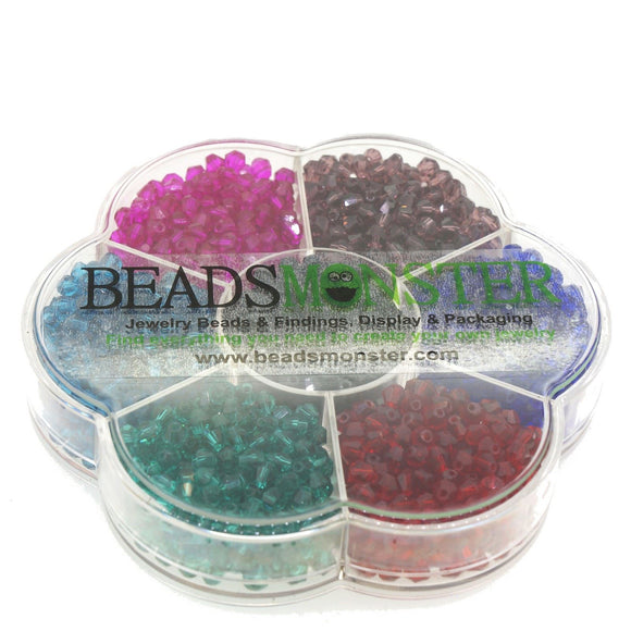 Glass Beads, Bicone, 4x4mm, 1mm Hole,  7 Colors Set 07