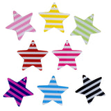 37mm Mix Color Striped Stars Charms / Pendants Resin Acrylic, Pack of 8 pcs, for Jewelry Making, Craft DIY Project