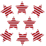 37mm Red and White Color Striped Stars Charms / Pendants Resin Acrylic, Pack of 8 pcs, for Jewelry Making, Craft DIY Project