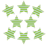 37mm Green and White Color Striped Stars Charms / Pendants Resin Acrylic, Pack of 8 pcs, for Jewelry Making, Craft DIY Project