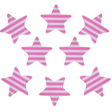 37mm Pink and White Color Striped Stars Charms / Pendants Resin Acrylic, Pack of 8 pcs, for Jewelry Making, Craft DIY Project