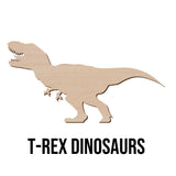 "Dinosaur T Rex Wood Cut Out Shape - Wooden Blank Laser Cut Art Craft Supplies for DIY Project   available in 2"" to 15"""