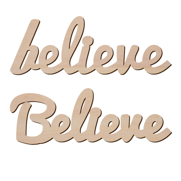 Believe Sign Wood Cut Out Shape - Wooden Word Laser Cut Art Craft Supplies for DIY Project, Size in 2
