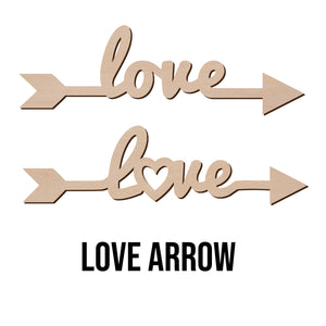 "LOVE ARROW Sign Wood Cut Out Shape - Wooden Word Laser Cut Art Craft Supplies for DIY Project, Size in 1"" to 15"""
