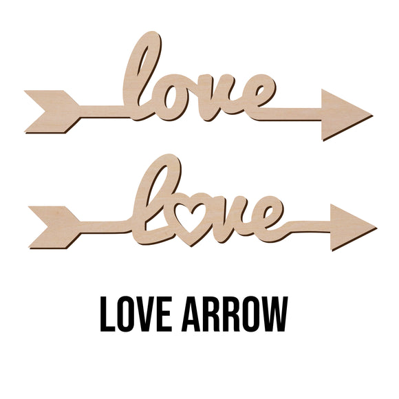 LOVE ARROW Sign Wood Cut Out Shape - Wooden Word Laser Cut Art Craft Supplies for DIY Project, Size in 1