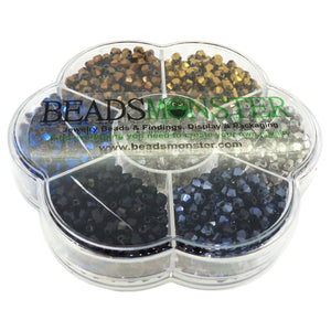 Glass Beads, Bicone, 4x4mm, 1mm Hole,  7 Colors Set 06