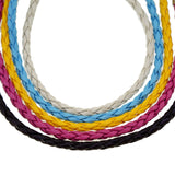 "5 Mix Color PU Leather Braided Bracelets with Heart Charm and Lobster Claw Clasps, 7"" Length"