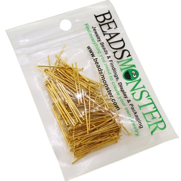 BeadsMonster 28mm Golden Plated Headpins for Jewelry Making, 15g, around 110~120pcs