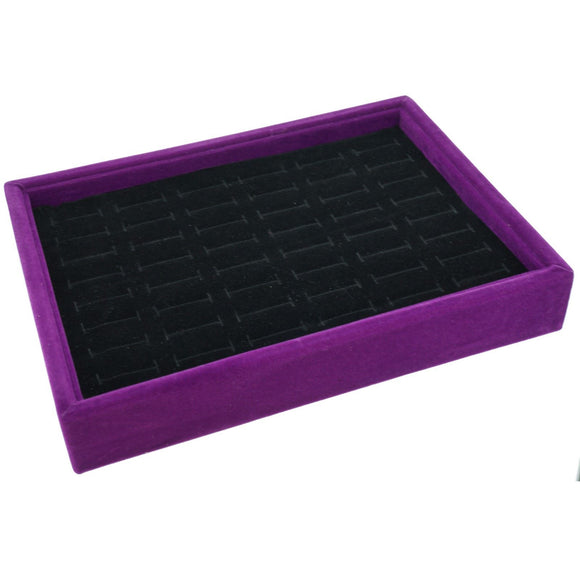48 Slot Black Velvet Pad and Purple Velvet Jewelry Display Case Tray, 20x15x3cm, for Rings and Cuffs