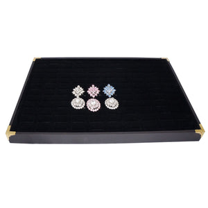 Black Jewelry Ring Display Case with Golden Decorative Corner, 35x24cm, for Storage