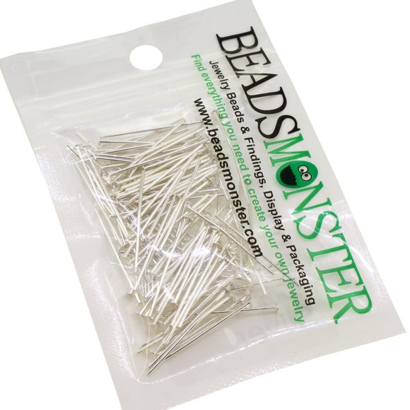 BeadsMonster 35mm Silver Plated Headpins for Jewelry Making, 15g, around 90~100pcs