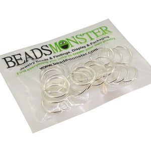 BeadsMonster Jewelry Findings Jump rings for Jewelry design and Making , Silver Color, 18mm, 20g