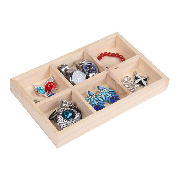 6 Girds, Wood Jewelry Display Case for Retail Store Shop Flea Market Home Storage Organizer Showcase 24x15x3cm