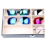 8 Grids Portable Collection Sunglasses Glasses PU Leather Organizer Storage Box