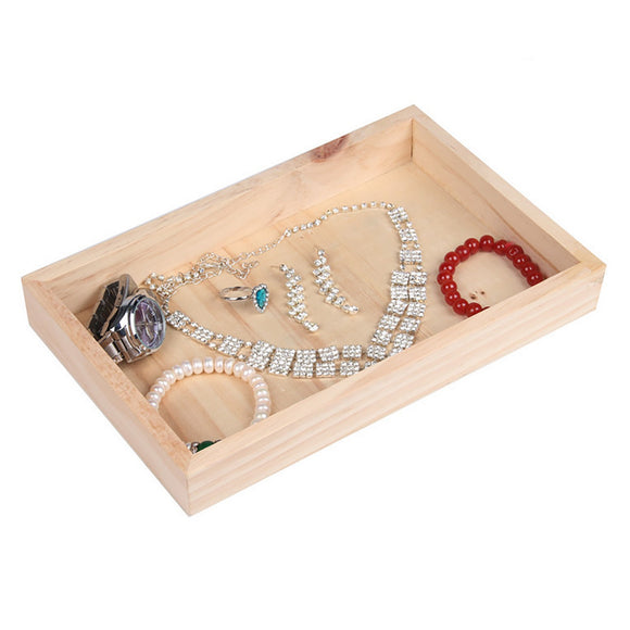 Wood Jewelry Display Case for Retail Store Shop Flea Market Home Storage Organizer Showcase 24x15x3cm