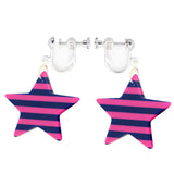 37mm Blue and Pink Color Striped Stars Charms / Pendants Resin Acrylic, Pack of 8 pcs, for Jewelry Making, Craft DIY Project