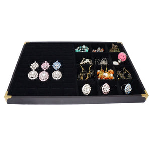 Black Jewelry Display Case w Golden Decorative Corner, 60 Slot for Ring / Cuff , 12 Compartments