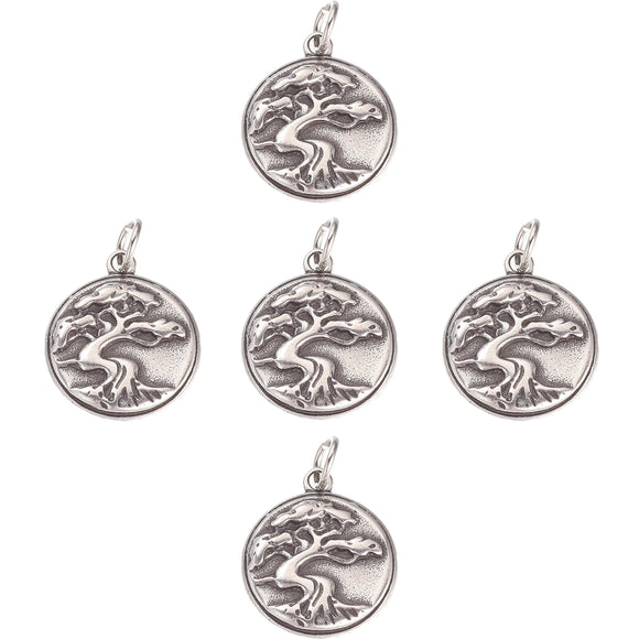 Eastern Tree of Life Antique Silver Stainless Steel Pendants Charms for Earrings Bracelet Necklace Key chain Phone Strap Handmade DIY Making