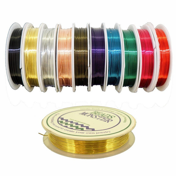 Copper Wire for Lace making DIY Jewelry Findings Beading Earrings Bracelet Necklace - 10 Multicolor, Gauge 20, 22, 24, 26, 28 available