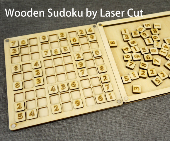 Wooden Sudoku Puzzle Game Board with custom design lid, Made By Laser Cut, Great Personalized Gift Ideas
