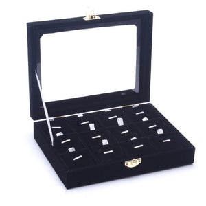 Black Velvet Jewelry Display Box with Glass Top Lid, 12 Compartments for Pendants / Necklace / Charms Storage