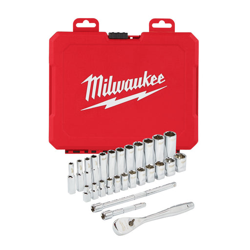 "Milwaukee RATCHET & SOCKET 1/4"" DRIVE MET. 28PC SET - 1P"