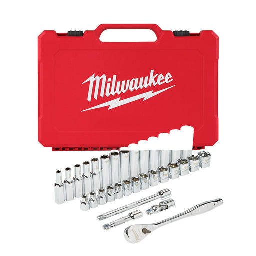 "Milwaukee RATCHET & SOCKET 3/8"" DRIVE MET. 32PC SET - 1P"