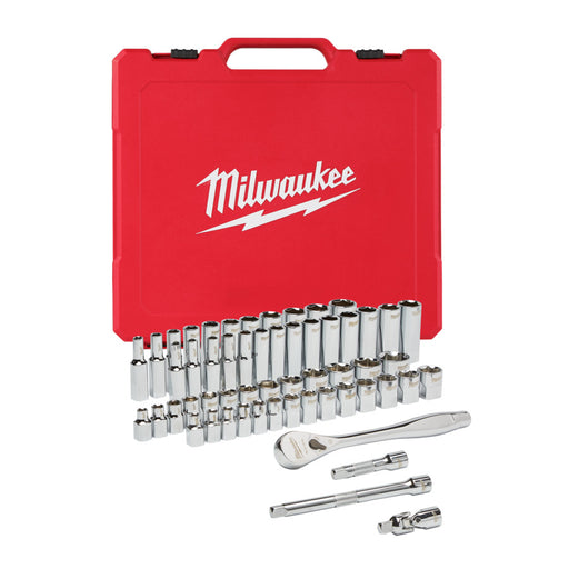 "Milwaukee RATCHET & SOCKET 3/8"" DRIVE IMP. & MET. 56PC SET - 1P"