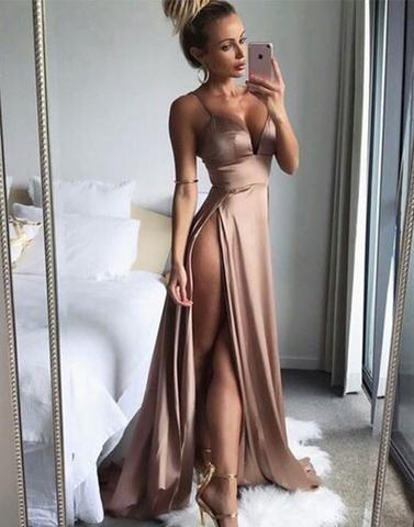 spaghetti straps sexy brown side slit long prom dress, PD9979