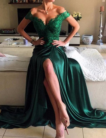 green prom dress, long prom dress, side slit prom dress, off shoulder prom dress, sexy evening dress