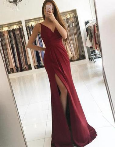 sexy v-neck side slit long chiffon 2018 cheap prom dress, PD1501