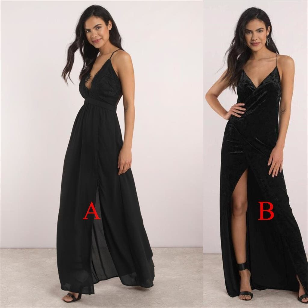 2018 black side high slit prom dress spaghetti straps evening dress prom gowns,HS101