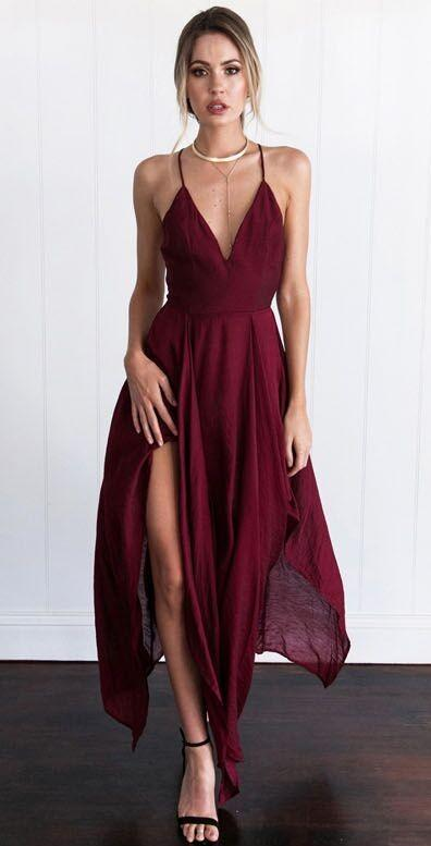 a-line deep v-neck prom dress chiffon sweep train split-side evening dress,HS124