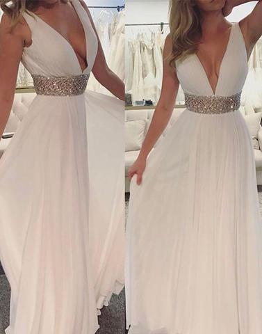 chiffon white v-neck long beaded high waist cheap prom dress, PD1468