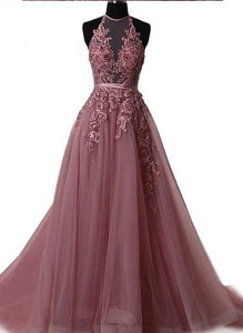 halter applique prom dress a-line tulle long evening dress,HS125