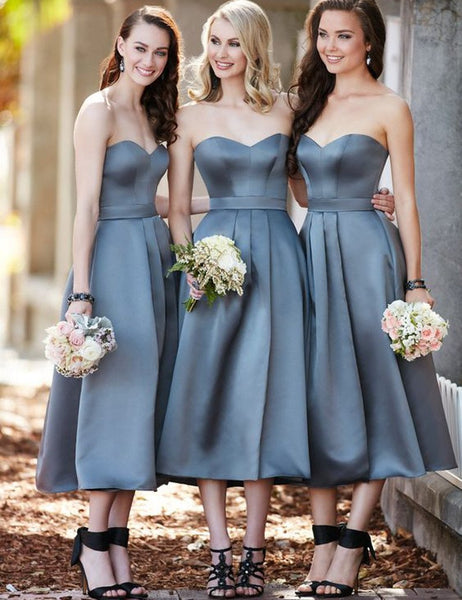 Grey Bridesmaid Dress, Sweetheart Bridesmaid Dress,High Waist Bridesmaid Dress,Sash Ruched Bridesmaid Dress,Satin Bridesmaid Dress, PD12