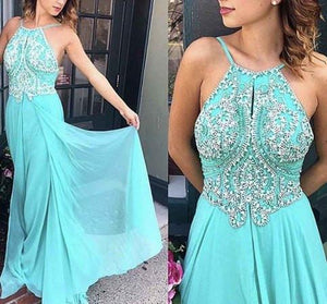 blue prom dress, long prom dress, beaded prom dress, simple evening gown, BD37