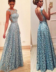 blue lace long backless prom dress, 2018 evening dresses, PD1314