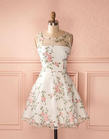 junior A-line round neck flower appliques short homecoming dress, HD254