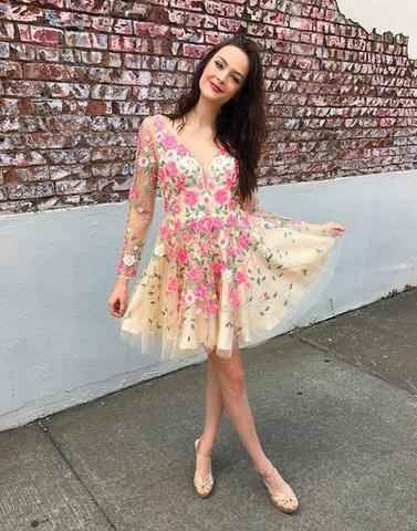 v-neck long sleeves flower appliques short homecoming dress, HD457