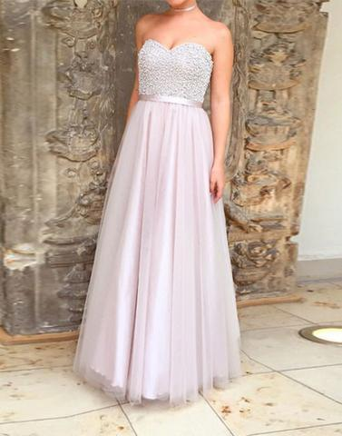beaded sweetheart neck tulle long prom dress, PD9981