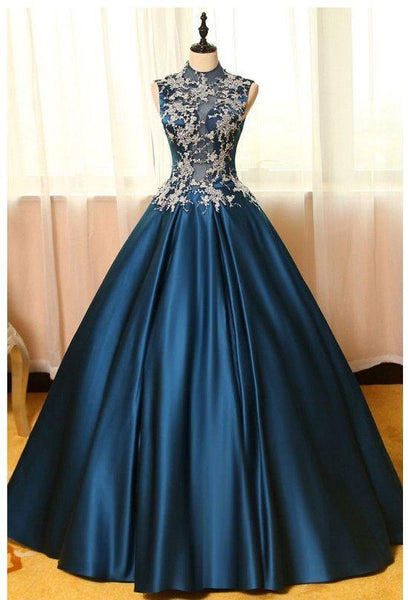 High Neck Sleeveless Appliques Long Prom Dresses, Blue Ball Prom Gowns,HS133