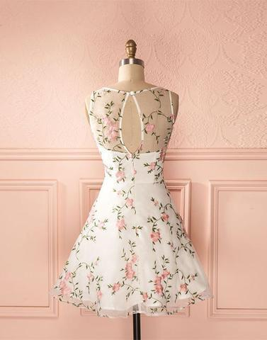 09941328f0 ... junior A-line round neck flower appliques short homecoming dress